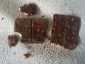 Hersheys Bars With Reeses Pieces Broken up After Being Heated and Cooled Down